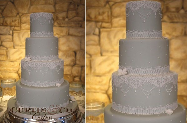 Edible lace wedding cake by Curtis and Co. Cakes with extra hand piped details