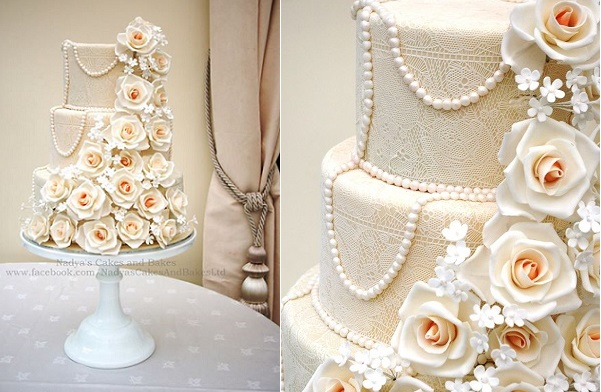 Edible lace wedding cake by Nadya's Cakes and Bakes