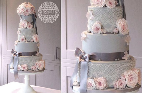 edible lace wedding cake grey with pink roses by Roses by Moonlight