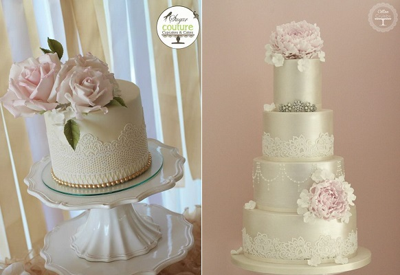 Edible Lace Wedding Cakes By Sugar Couture Cupcakes And Left Cotton Crumbs Right