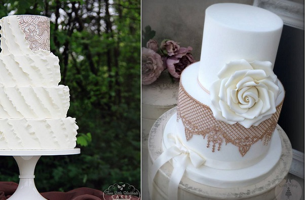 Edible lace wedding cakes by Three Little Blackbirds Cakes left, Kirsty Wirsty Cake Emporium right