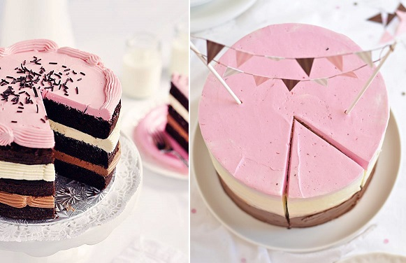 Inside Out Neapolitan Cake left and Raspberry Neapolitan Cake right by Sweetapolita