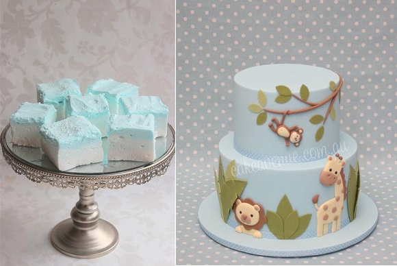 Jungle animals cake by Cake Avenue right and blue marshmallow by Cake by Kim AU left