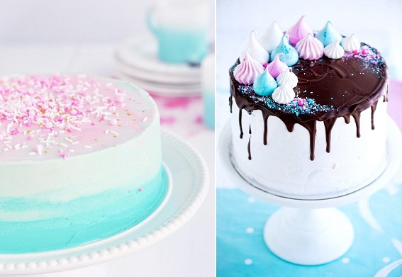 Sweetapolita cakes, pastel swirl vanilla cake left, meringue dream cake right