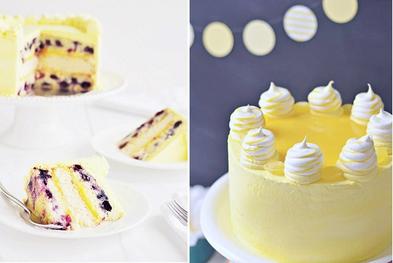lemon blueberry cake left and lemon meringue cake right by Sweetapolita