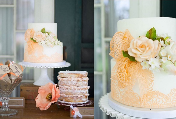 edible lace wedding cake by Susanna's Custom Cakes, Haley Photography