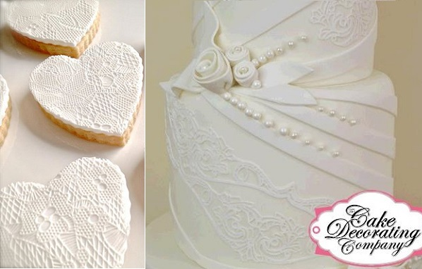 edible lace wedding cake from The Cake Decorating Company right, sugarveil cookies by Cake Envy Melbourne left