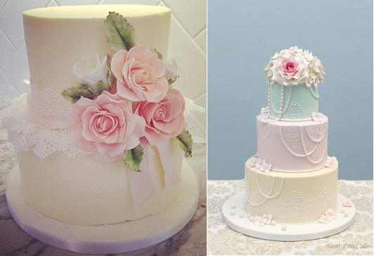 edible lace wedding cakes in pastels by Sophie Bifield Cake Company left, Sweet Little Cakes right