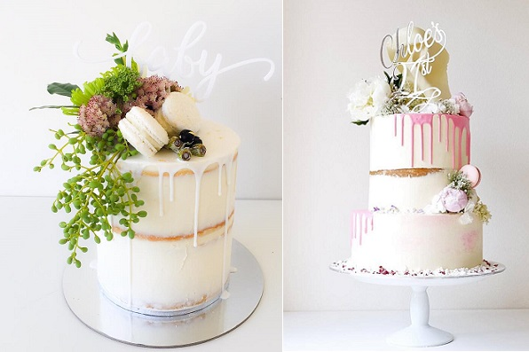 Drippy Wedding Cakes by Mio Cupcakes left, Cakes by Cliff right