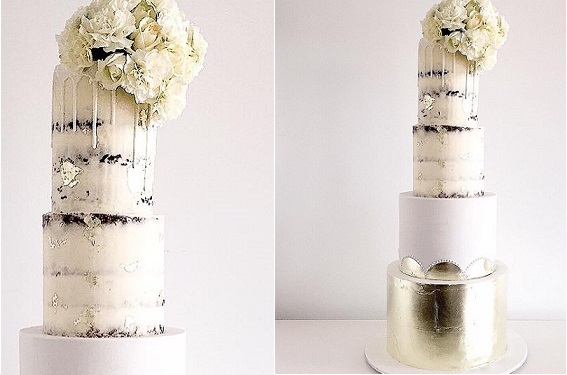 Drippy naked wedding cake by Mio Cupcakes