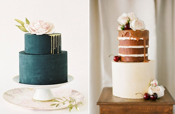 Drippy wedding cakes by Nine Cakes left, The Cake & I right with image by Jemma Keech