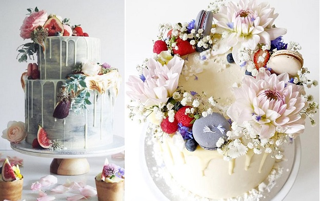 Drizzle wedding cake by Cordy's Cakes, left and Cakes by Cliff right