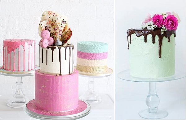Drizzle wedding cakes by Sweet Bloom left, via One Fab Day right