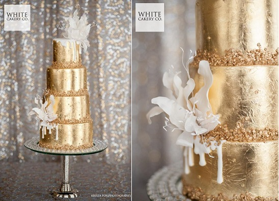 Gold drizzle wedding cake by The White Cakery, Krista Fox Photography