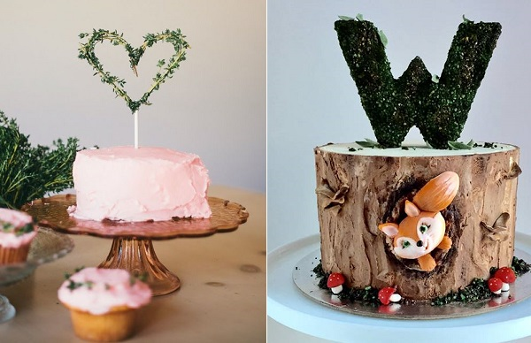 Rustic cake toppers, thyme cake topper via Goldmine Journal left, The Cake Whisperer right