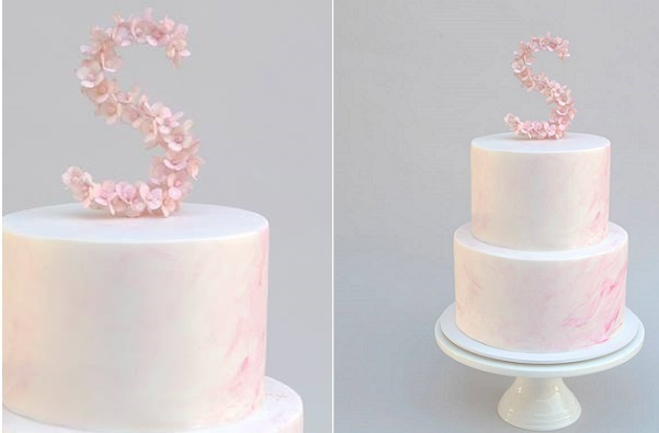 Watercolor cake with floral monogram cake topper by Sweet Tiers AU
