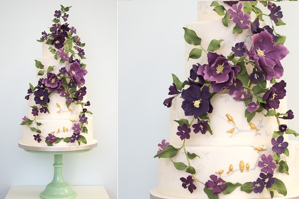 Wildflower Wedding Cake, The Amethyst Forest by Rosalind Miller Cake Design