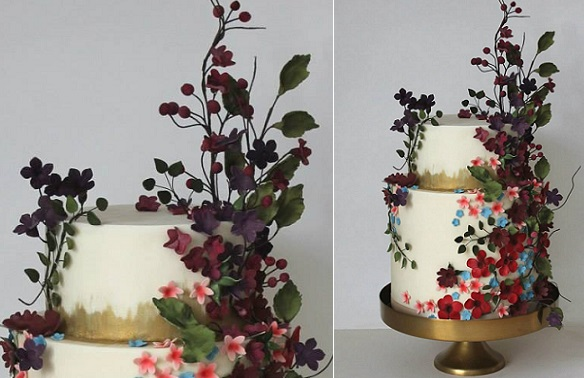 Wildflower Wedding Cake by Happy Hills Cake Design
