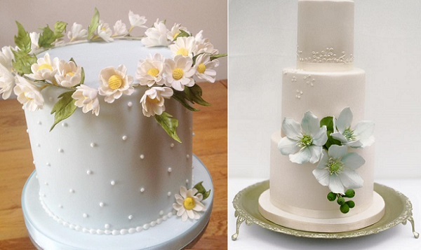 Wildflower Wedding Cakes by Cakes by Krishanthi left and right, image right by  Zosia Zacharia Photography