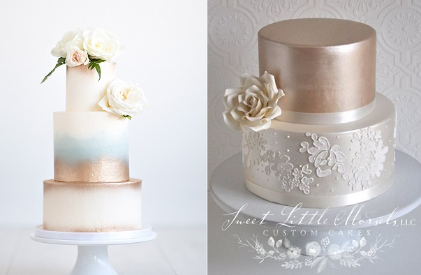 Bronze and copper tone wedding cakes by Nicole McEachnie, Maru Photography left, Sweet Little Morsels right