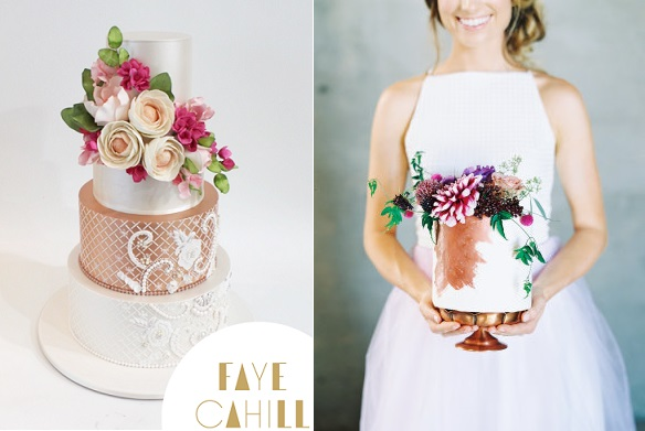 Bronze copper wedding cakes by Faye Cahill Designs left, Merely Sweets right
