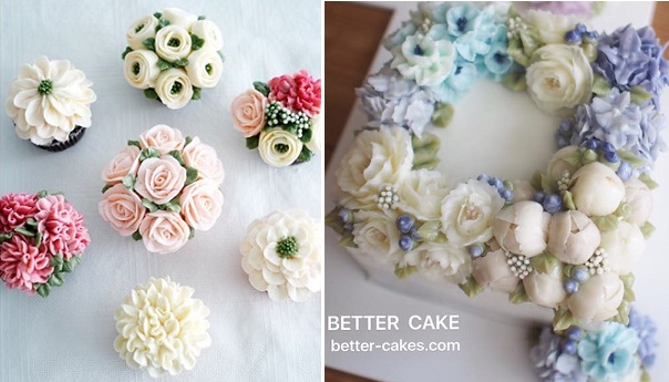 Buttercream flower cupcakes from Make Fabulous Cakes left, cake right from Better Cake
