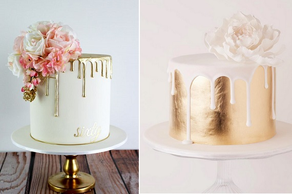 Drippy wedding cakes in gold by Caking It Up left, Cake Ink right