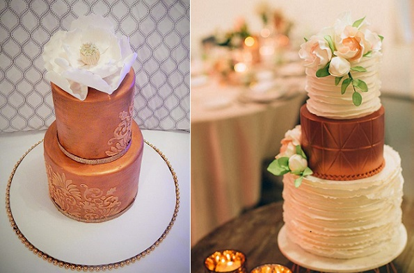 Metallic wedding cakes in shades of copper and bronze by Cakelicious VA left, Faye Cahill Designs right