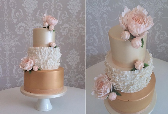 Mixed metallics wedding cake by Zoe Clark Cakes