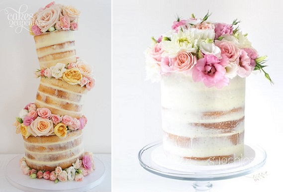 Naked Topsy Turvy Cake by Cakes 2 Cupcakes left, cake right by Sugablossom
