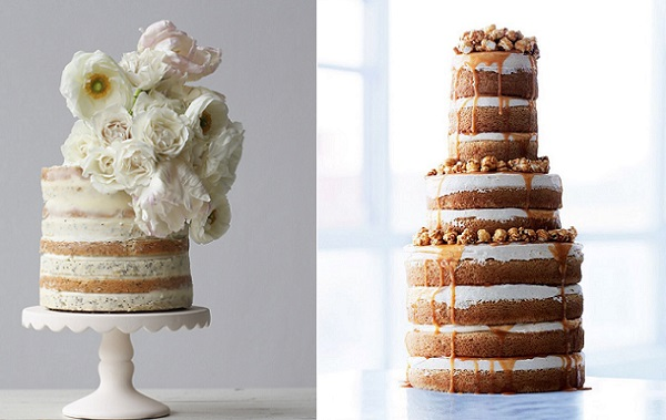 Naked cake with white poppies by Knead to Make left, caramel drip naked cake Lael Cakes right