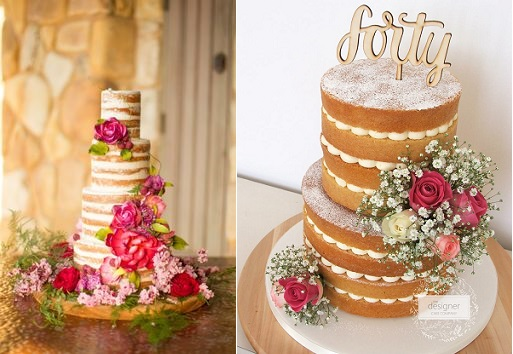 Naked cakes for weddings, image left via Arabia Weddings, cake right by The Designer Cake Co