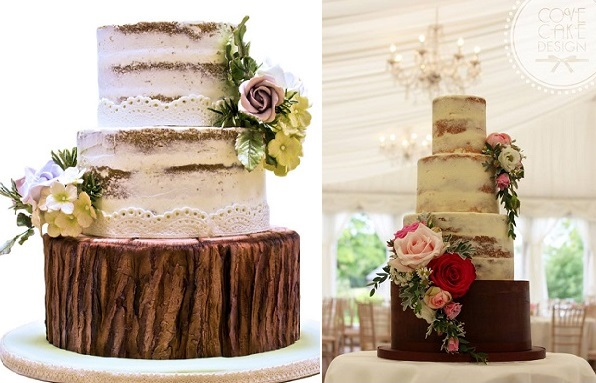 Naked cakes woodland wedding theme by Karen Davies left, Cove Cake Design right