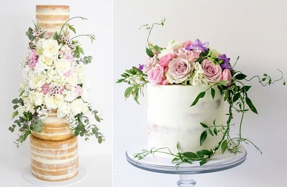 Naked wedding cakes bohemian style by Sugablossom