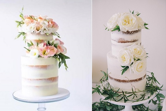 Naked wedding cakes by Sugablossom left, All Things Sweet by Carissa right (KUHLEKTIV  Photography)