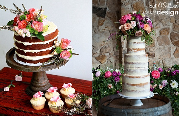 Naked wedding cakes by Sugar Pot left, Janet O'Sullivan Cake Design right