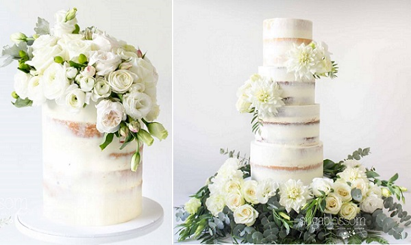 Naked wedding cakes in ivory and green by Sugablossom