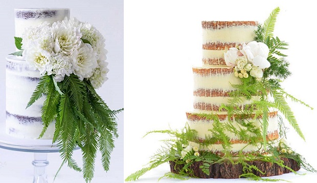 Naked wedding cakes woodland style by Sugablossom left, Sweet Love Cake Couture right