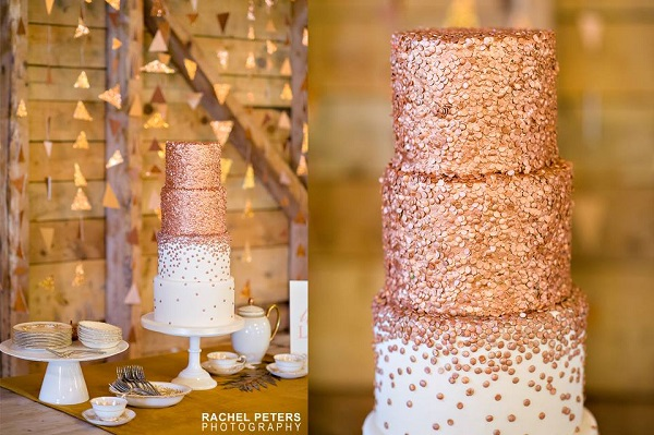 Rose gold sequins wedding cake by City View Bakehouse, Rachel Peters Photography