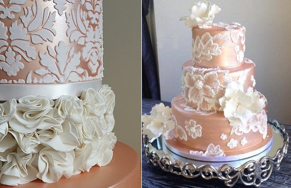 Rose gold wedding cakes by Petit Mignon left, Wow Factor Cakes right