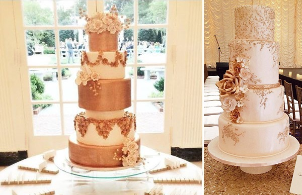 Wedding Cakes in Bronze and Rose Gold by Wow Factor Cakes left, A Cake Life Hawaii right