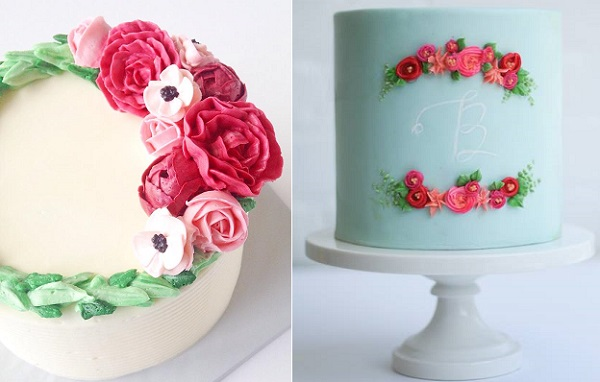 buttercream flower wreath cake by Eat Cake Be Merry left, Erica O'Brien right