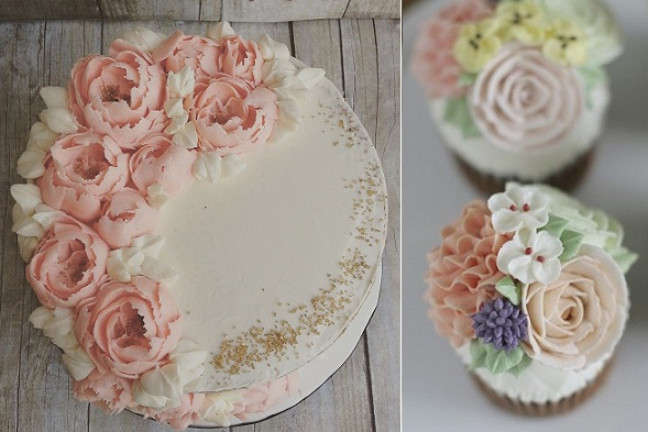 buttercream flowers by The Cocoa Cakery left, Veranda Studio Cake right