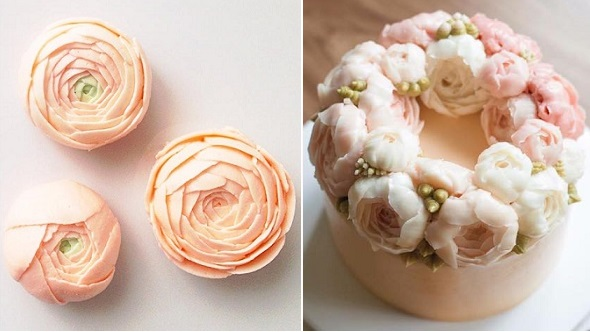 buttercream ranuncula by Eat Cake Be Merry left, cake right by Better Cake