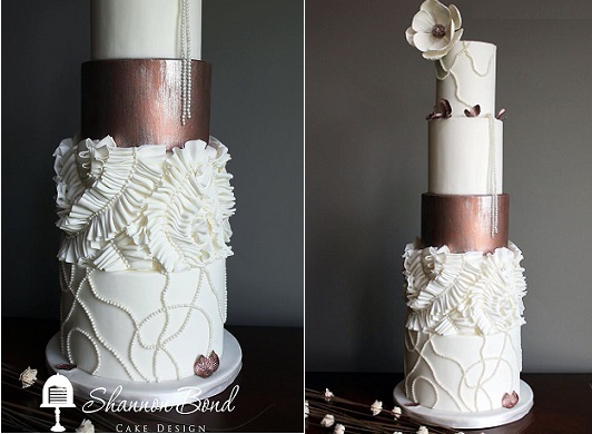 fabric effect ruffle wedding cake with copper metallic finish by Shannon Bond Cake Design