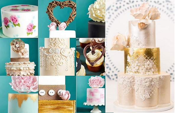 online cake classes on Craftsy by Zoe Clark left, Faye Cahill wedding cake right