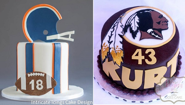American football cake by Intricate Icings left (Shalynne Imaging), football cake right by Peggy Does Cake