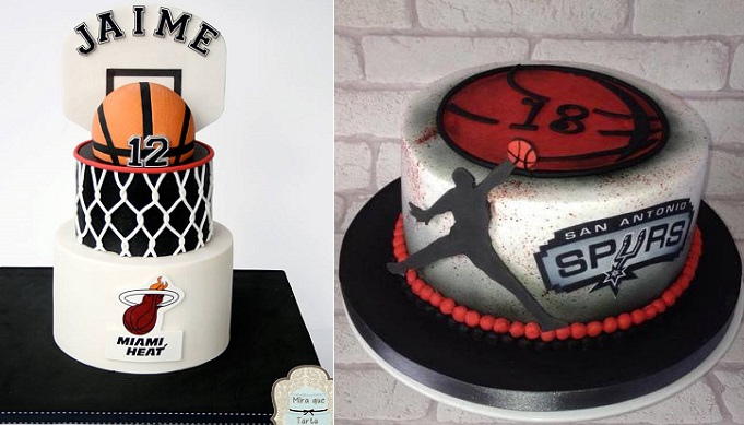 Basketball cakes by Mira Que Tarta left, Edible Essence Cake Art right