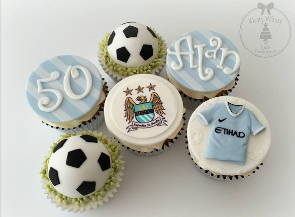 soccer cupcakes by Kirsty Wirsty Cake Emporium