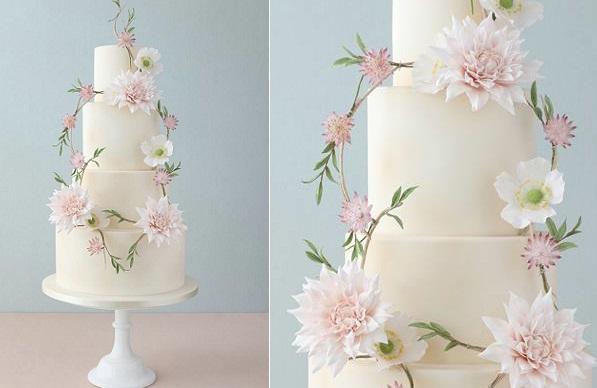 floral garland wedding cake by Zoe Clark Cake Design